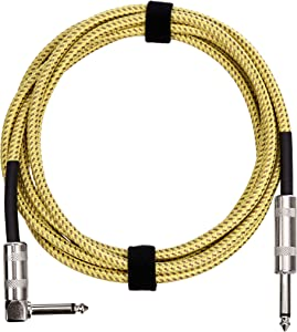 AmazonBasics 1/4 Inch Tweed Cloth Jacket Right-Angle Instrument Cable - 10 Foot (Yellow & Brown)