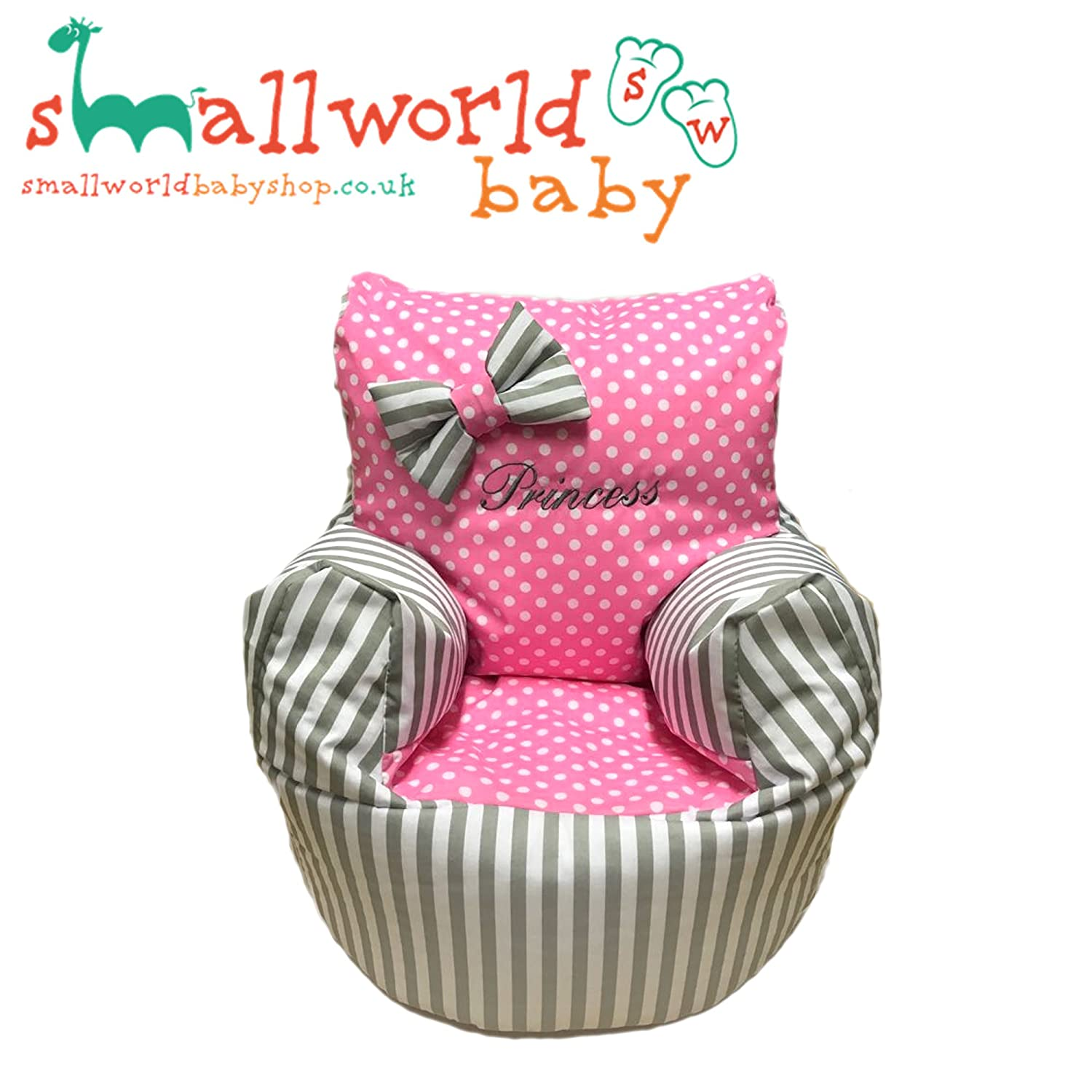 Puf personalizable, diseño de rayas y lunares, color gris y rosa Small World Baby Shop