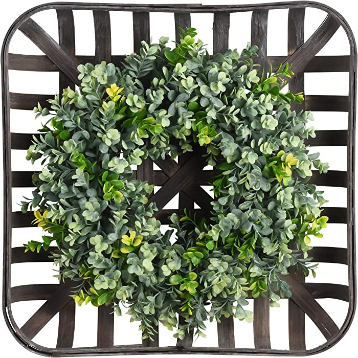 "WANNA-CUL 20"" Artificial Green Leaves Boxwood Wreath with Square Tobacco Basket for Front Door, Farmhouse Large Indoor Year Round Green Wreath Décor for Wedding, Wall, Kitchen and Home Decorations"
