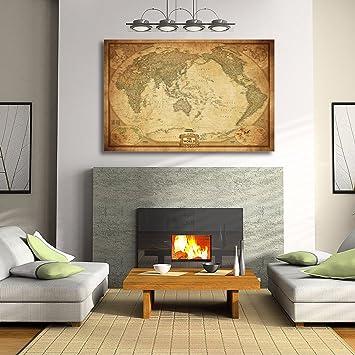 Vintage world map stretched framed canvas detailed australia vintage world map stretched framed canvas detailed australia waterproof map wall90x60cm gumiabroncs Images