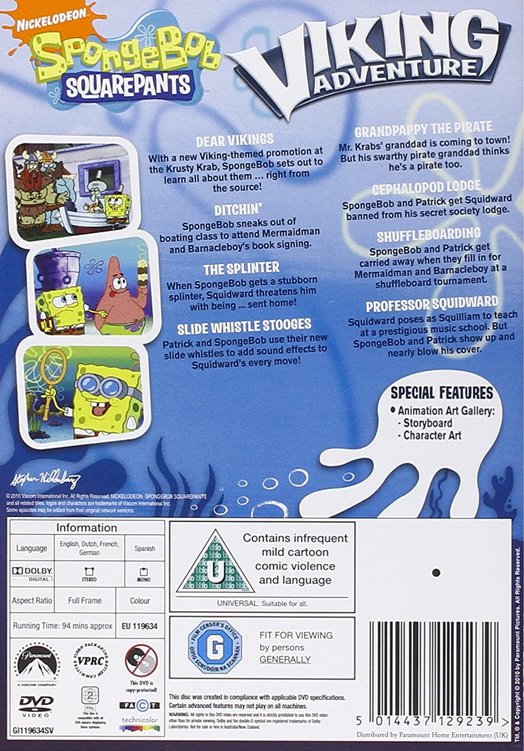spongebob squarepants viking adventure dvd amazon co uk dvd