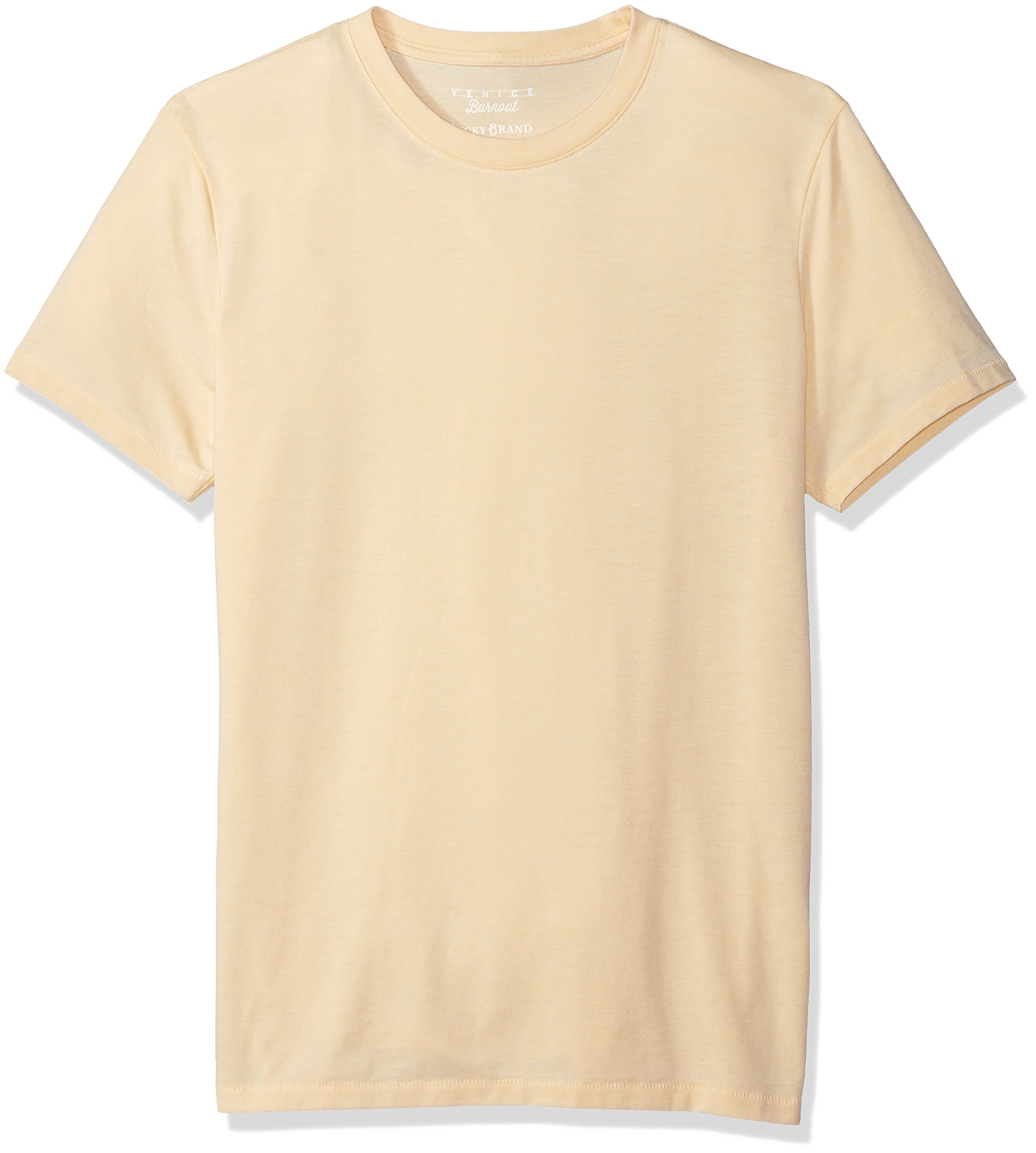 Lucky Brand Men's Venice Burnout Crew Neck Tee Shirt, Reed Yellow, L