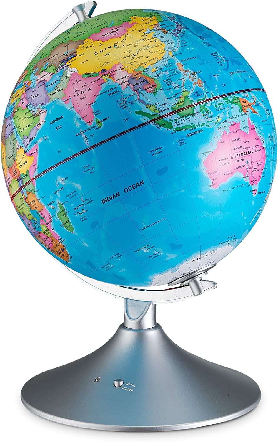 2-in-1 Standing Political Earth Sphere by Day /& Glowing Star Constellation Map at Night AC Adapter Included Interactive World Illuminated Globe for Kids
