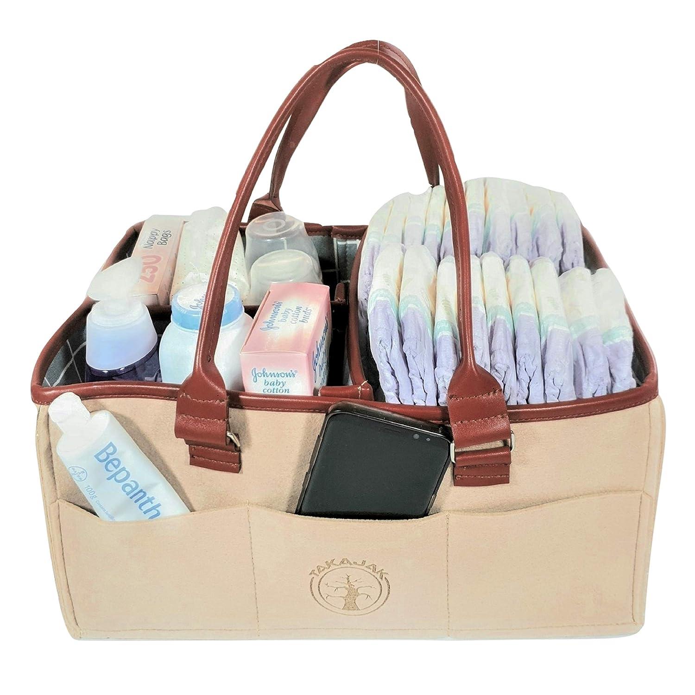 Newborn Registry Must Haves Nursery Organizer Essential Baby Diaper Caddy Organizer Diaper Tote Bag Bonus Change Mat Changing Table Organizer Baby Shower Gift Basket for Boys Girls