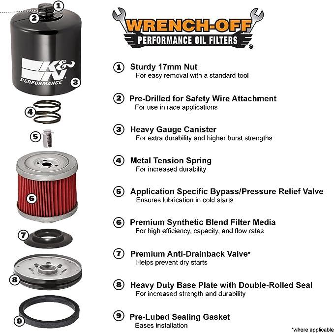 VTX1800C//F//N//R VTX1300C//R//S//T VTR1000F K/&N Oil Filter KN-204C- Honda VT750RS