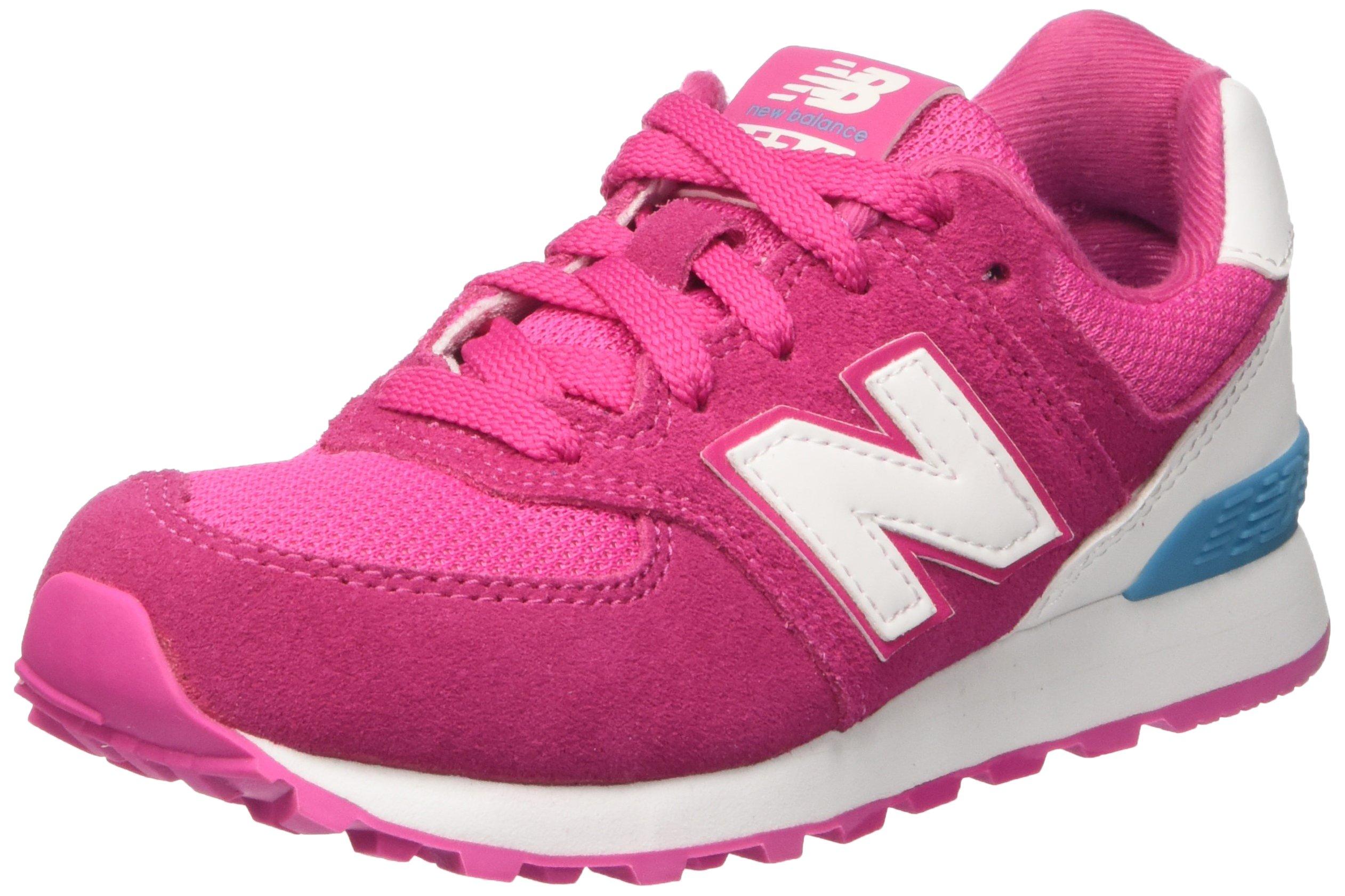 New Balance Girls' KL574 Sneaker, Pink/White, 4 M