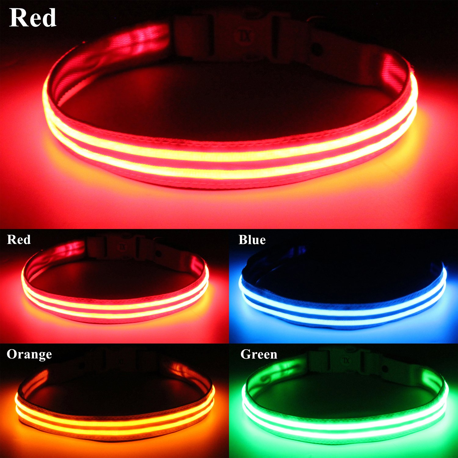 bcac glowing up led light squeaker red poochlight collar flashing dog products lava