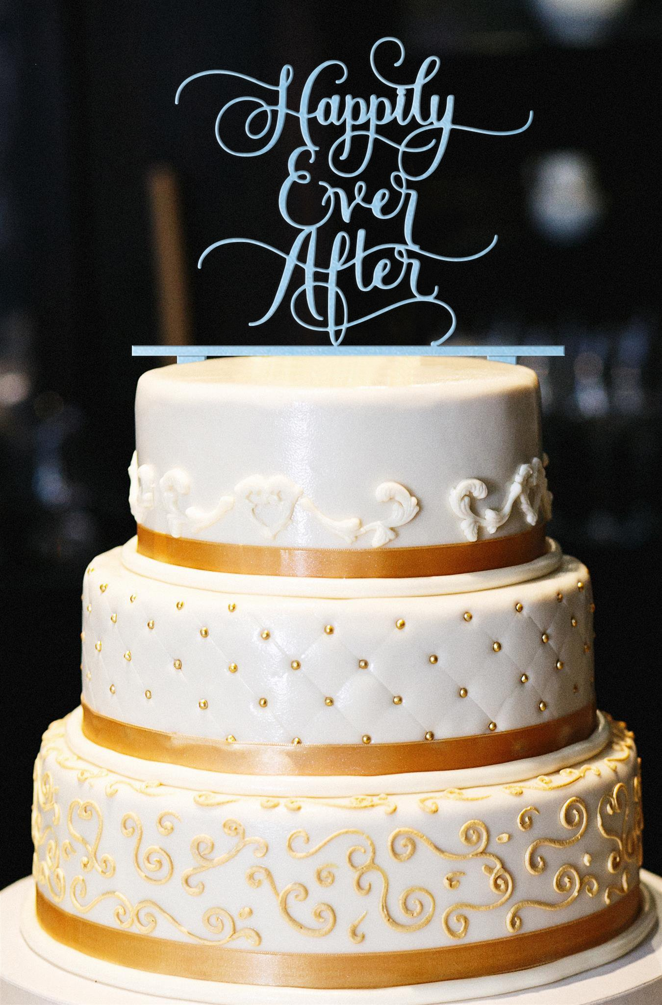 Happily Ever After Wedding Cake Topper, Glitter Wedding Cake Topper, Engagement Cake Topper, Gold Cake Topper, Gold Glitter Cake Topper (14'', Pearl Light Blue)