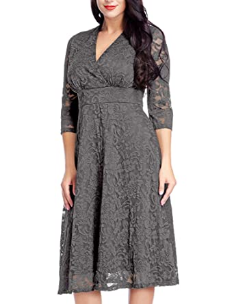 Womens Lace Plus Size Mother Of The Bride Skater Dress Bridal Wedding Party Dark Grey 12W