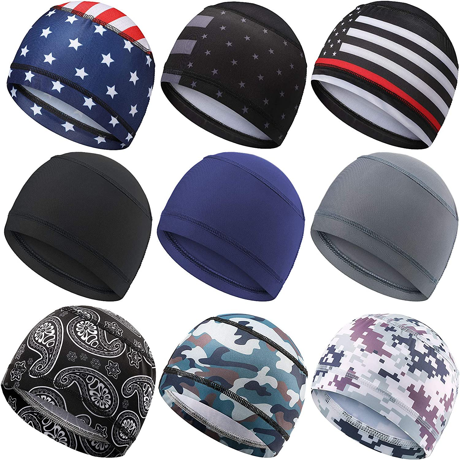 9 Colors 9 Pieces Cooling Skull Caps Helmet Liner Beanie Cap Sweat Wicking Cycling Hat for Men and Women Running Motorcycle Sports