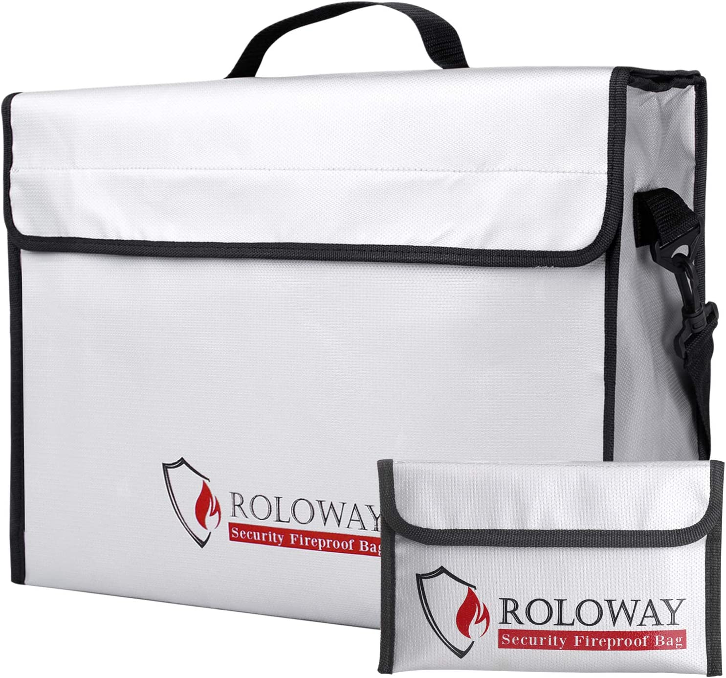 ROLOWAY Fireproof Document & Money Bags, Large Fireproof & Water Resistant Bag (16 x 12 x 5 inches), Fireproof Folder Safe Bag for Cash, Valuables & Passport, with Silicone Coating & Zipper Closure - -