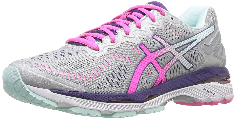 ASICS Women's Gel-Kayano 23 Running Shoe B017USOP2I 5 B(M) US|Silver/Pink Glow/Parachute Purple