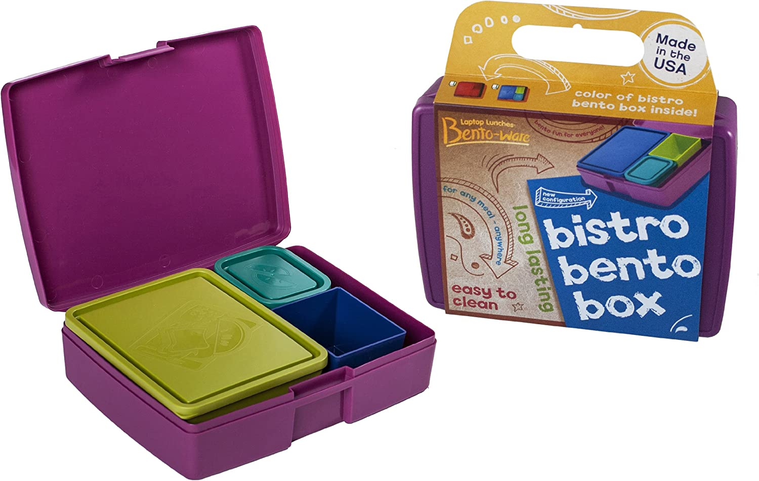 Bento Lunch Box - USA Made Leakproof Durable Food Containers - For Kids and Adults - Purple