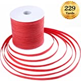Whaline 229 Yards Raffia Paper Craft Ribbon Red Packing Paper Twine, 1/4 Inch