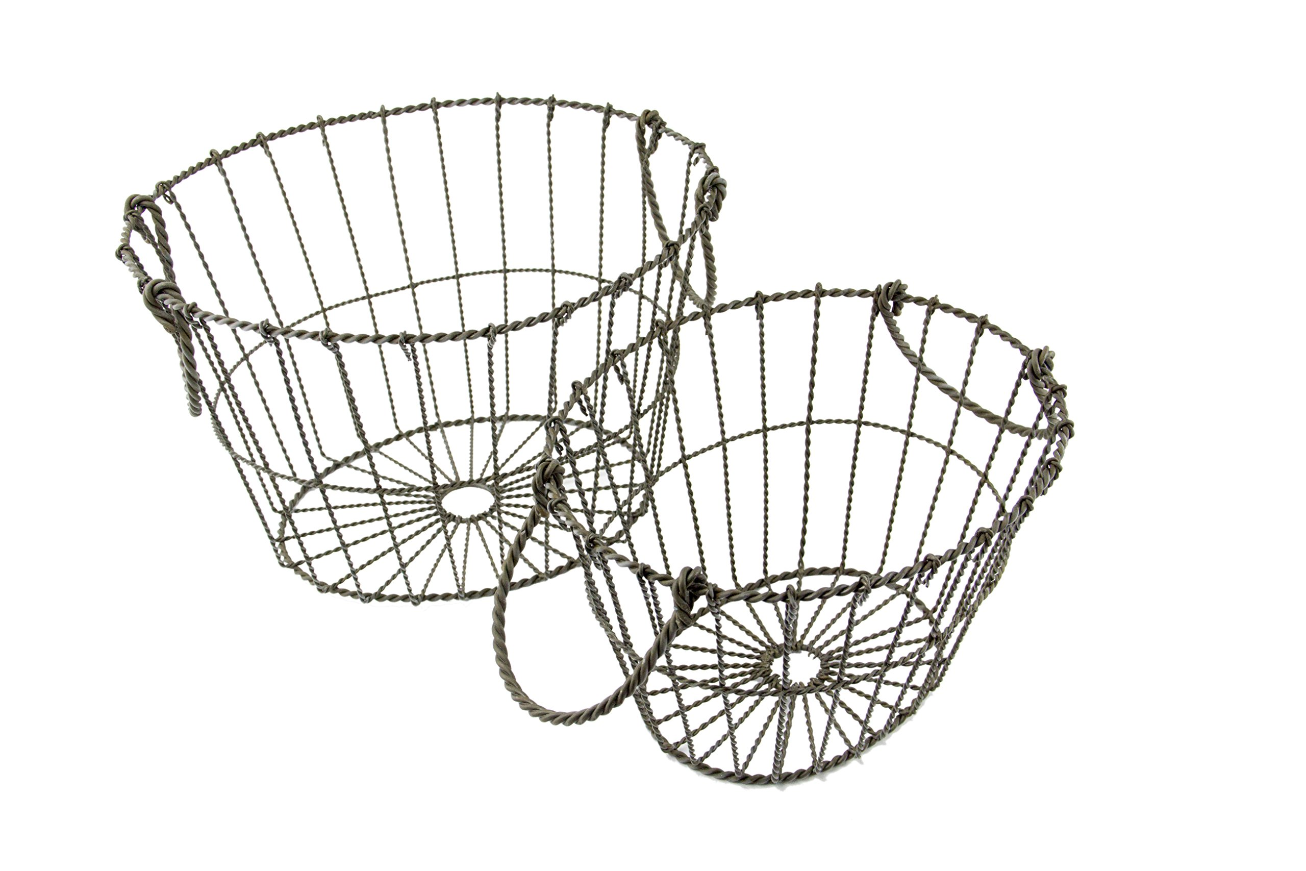 Oval Metal Wire Country Style Shabby Chic Basket with Handles, Set of 2 - Small and Large