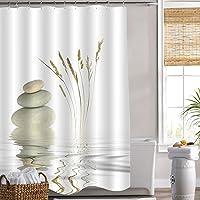 MitoVilla Zen Pebble Stone Shower Curtain for Asian Spa Bathroom Decor, Natural Grey Pebble Stones Balance with Wild…
