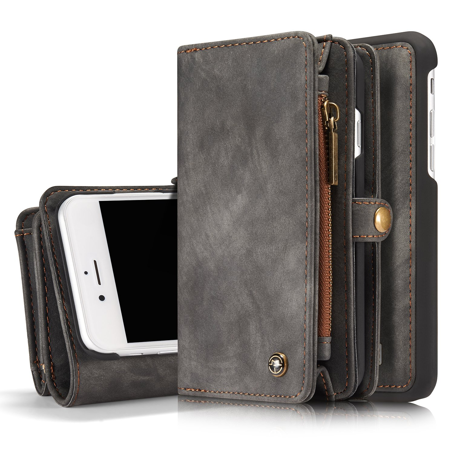 MOONORN iPhone 7 Plus/iPhone 8 Plus Wallet Case - Detachable Leather Phone Wallet Magnetic Flip Case Shockproof Cell Phone Case with Credit Card Slots (Black)