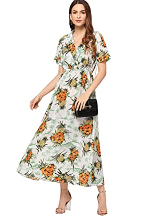 6261649b7dd Milumia Women s Floral Print Belted Collar A Line Short Sleeve Maxi Dress  Small Multicolor