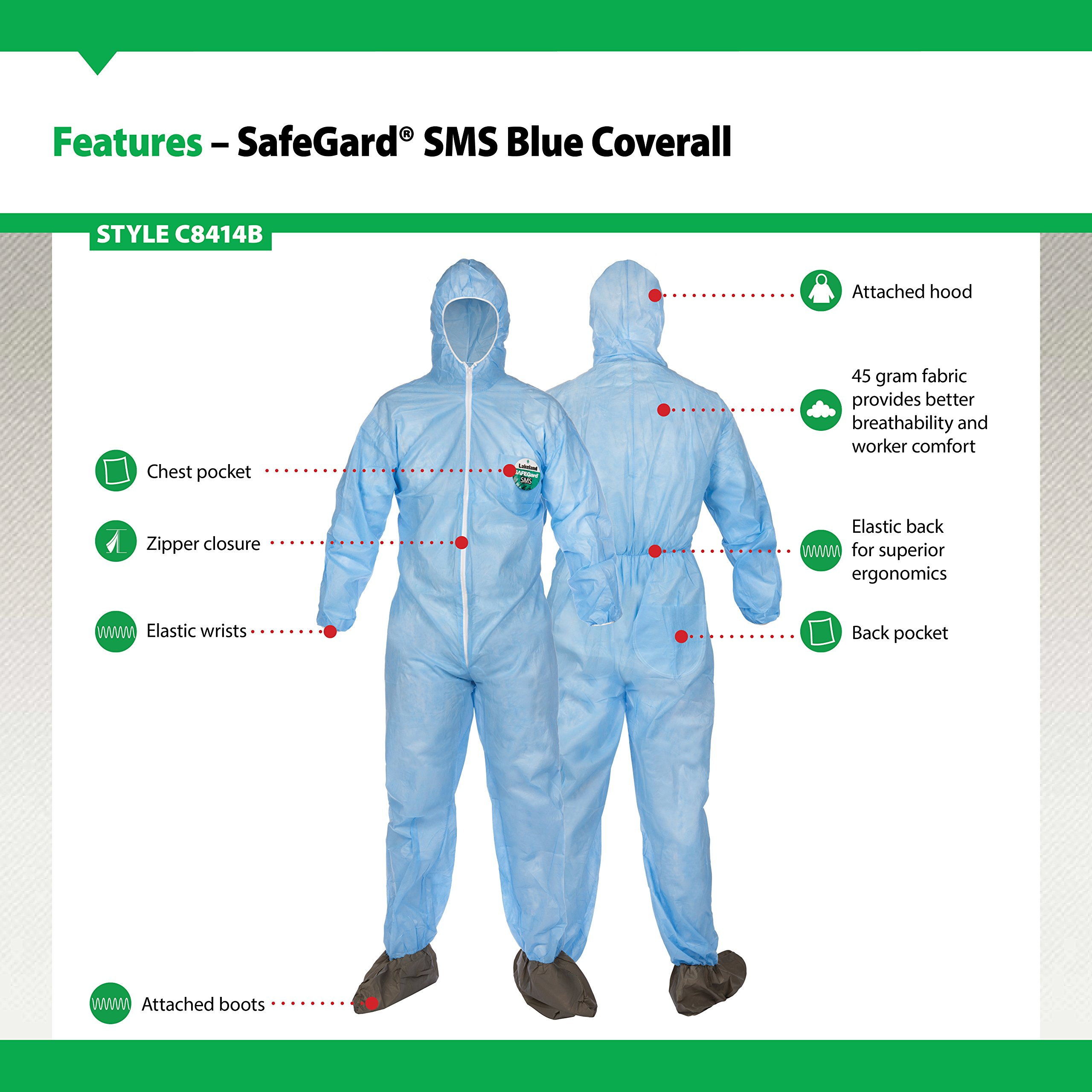 Lakeland SafeGard SMS Polypropylene Coverall with Hood and Boots, Disposable, Elastic Cuff, 2X-Large, Sky Blue (Case of 25) by Lakeland Industries Inc (Image #2)