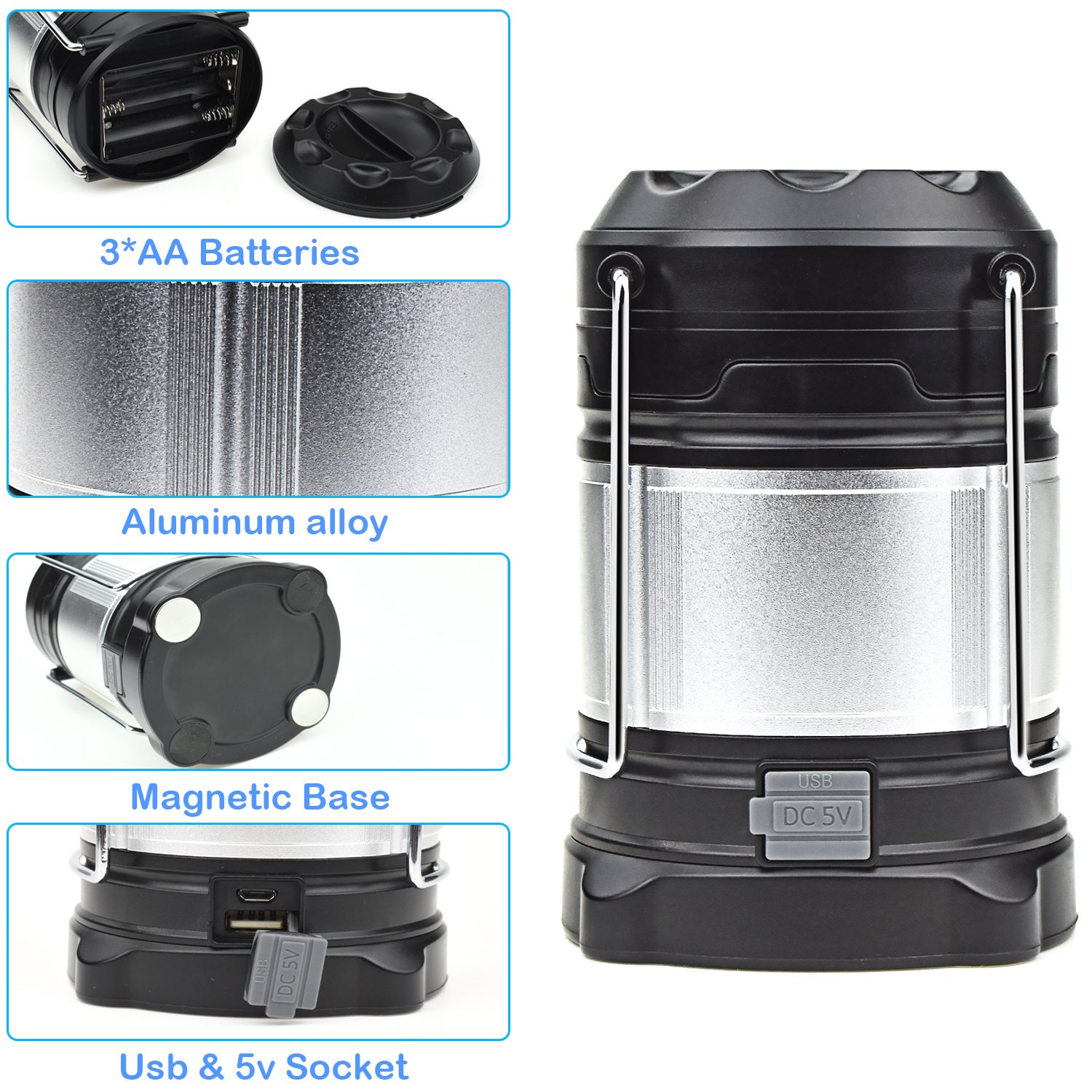 Alcoon Rechargeable LED Camping Lantern Light Lamp with 5600mAh Power Bank, Portable Collapsible Waterproof Outdoor Light with 18650 Li-ion Batteries for Camping Traveling Tent, Emergency, Outage by Alcoon (Image #4)