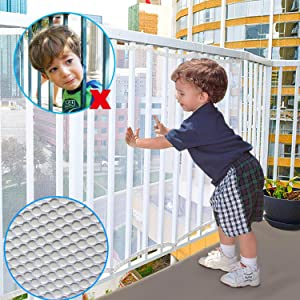 Child Safety Rail Net for Stairs, CuleedTec 16.5x2.5ft Balcony Protective Net for Kids Toys Pets, Anti-Fall Protection Net for Children, Indoor & Outdoor Rail Balcony Banister Stair Net,SGS Passed