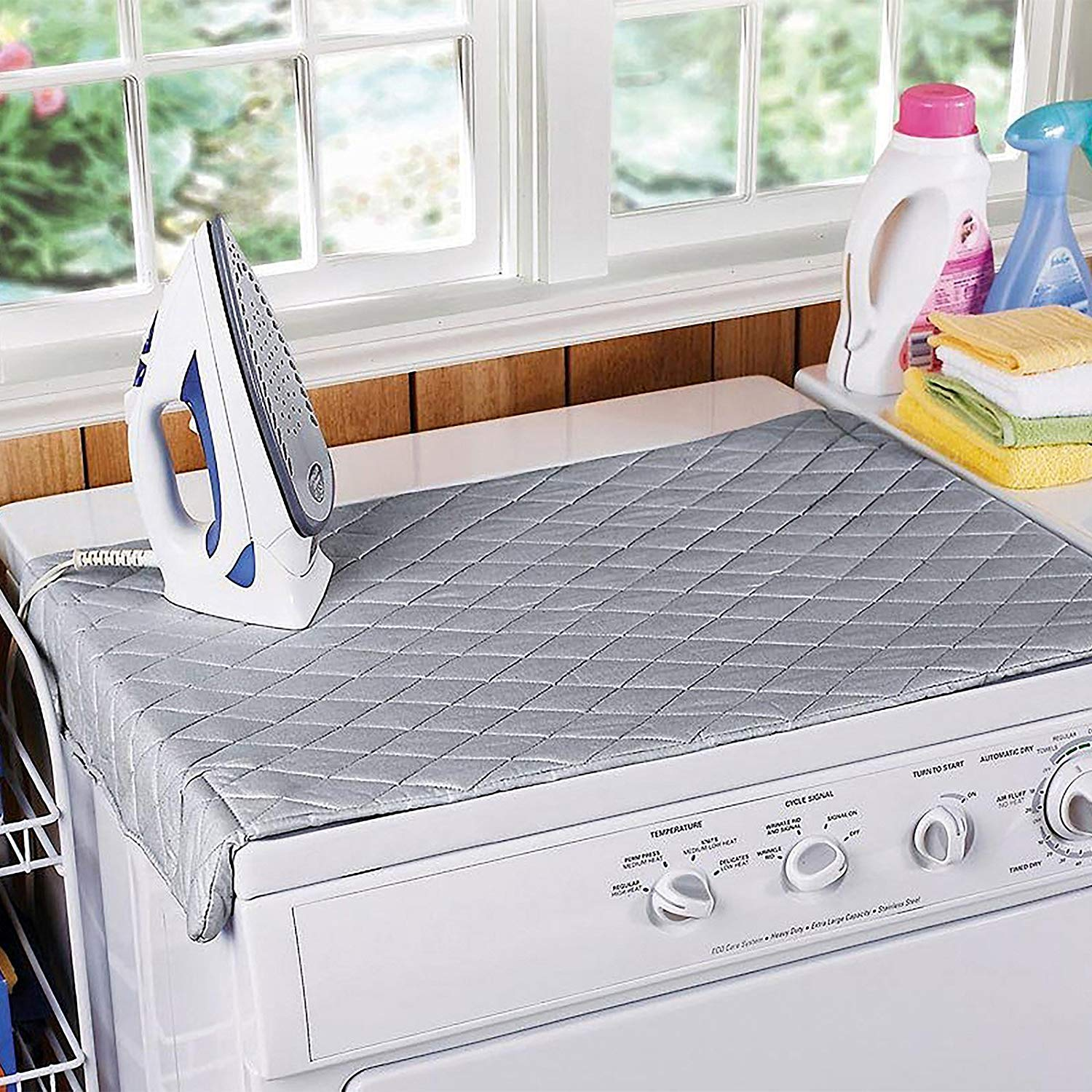 Padded Iron Boards Covers Blue- Umbrella QCWN Ironing Board Cover Thick Cotton Scorch Resistant Iron Covers Protector with Heavy Duty Heat Reflective Pad