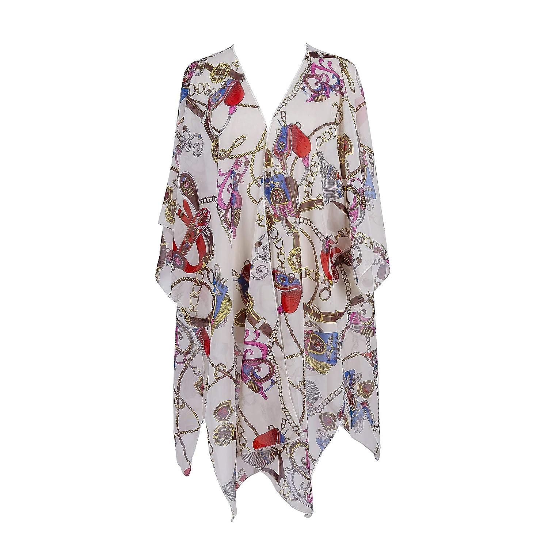 f57842d3da ZaYang Womens Bathing Suit Bikini Beach Cover Up Sheer Chiffon Floral Print  Loose Kimono Cardigan Half Sleeve Blouse Tops (Beige Fashion Style) at  Amazon ...