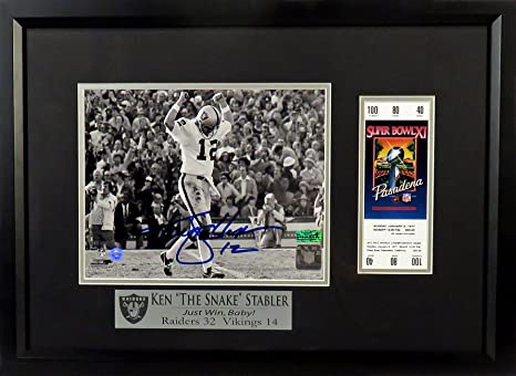 87ae271a8 Ken Stabler Autographed SB XI 8x10 Photograph with Replica Ticket (COA)