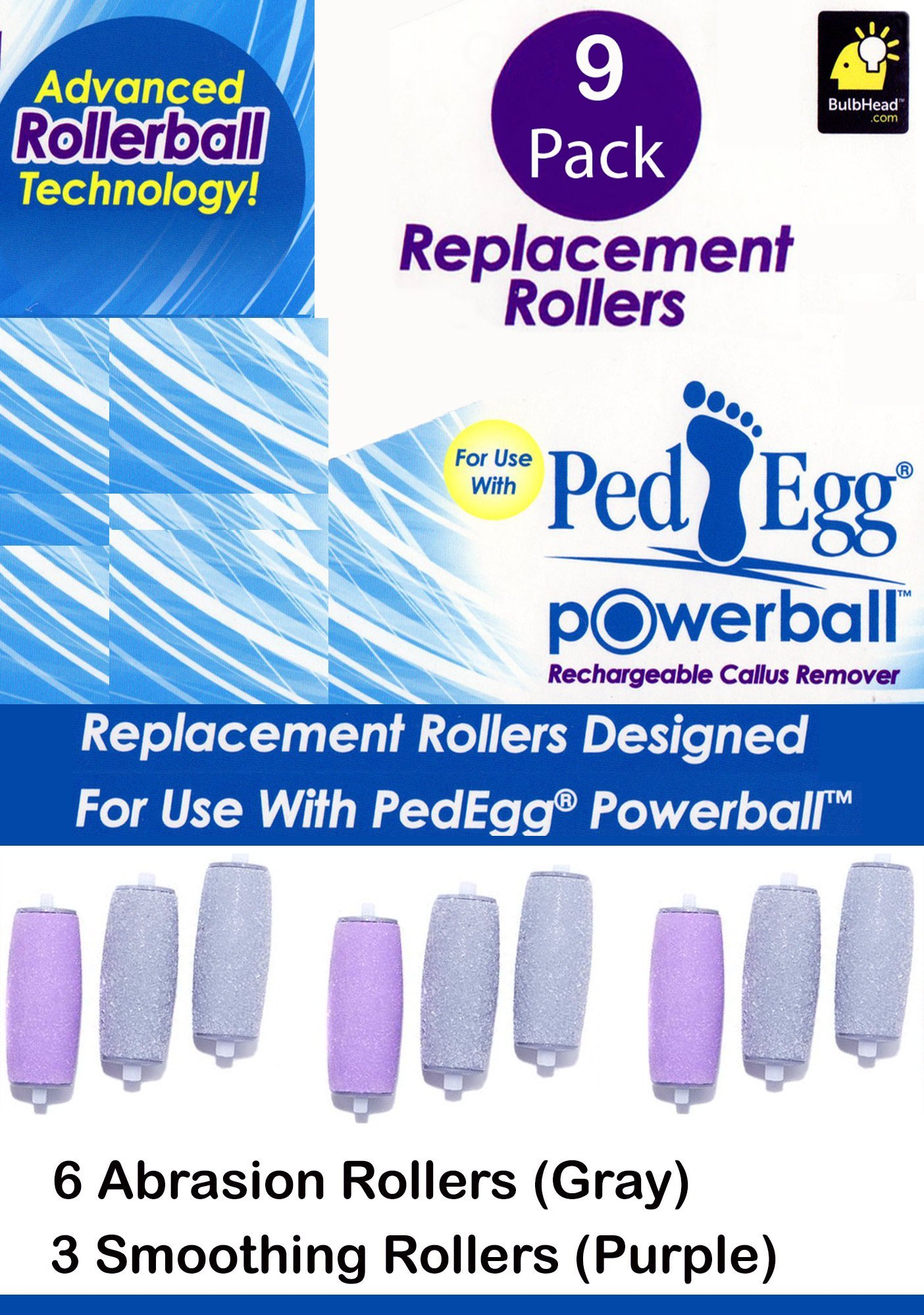 9 Pack Replacement Rollers for PedEgg Powerball Rechargeable Callus Remover