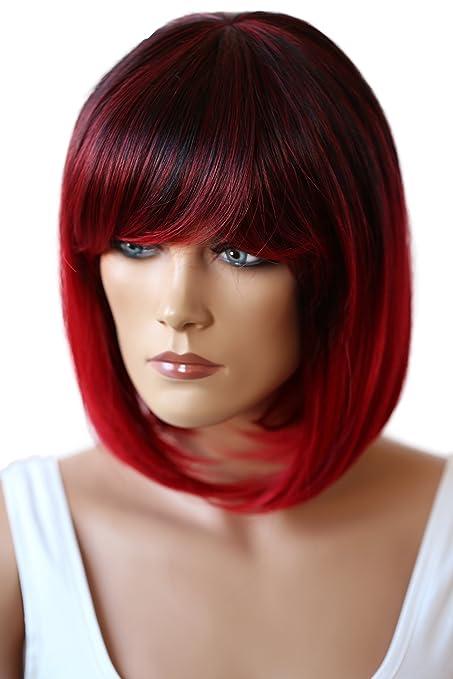 Prettyshop Parrucca Da Donna Fashion Bob Resistente Al Calore Capelli Corti Colori Di Variazione Mix Rosso 1t3100 Sh032p