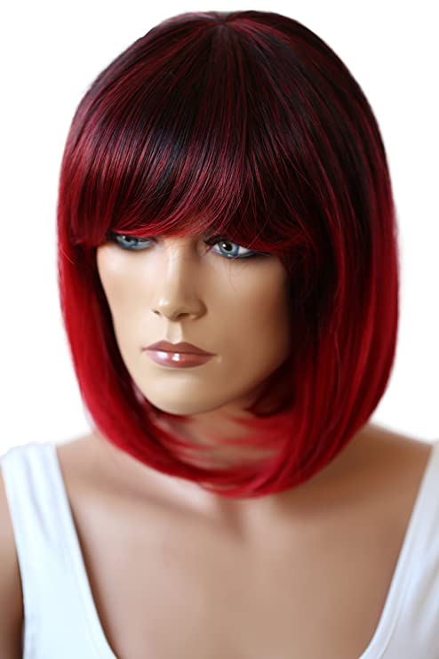 PRETTYSHOP Peluca de pelo corto peluca de Bob calor fibras sintéticas resistentes mezcla de color rojo