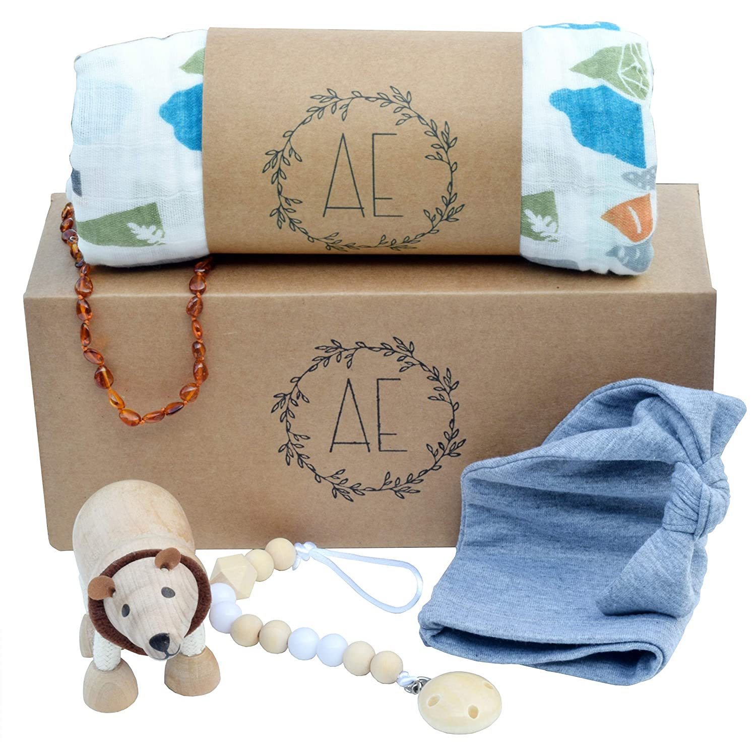 5 Piece Baby Boy Gift Set - Ready to GIVE - Unique Shower Gifts for Newborn Boys, Registry Essentials Basket, by After Eden Baby