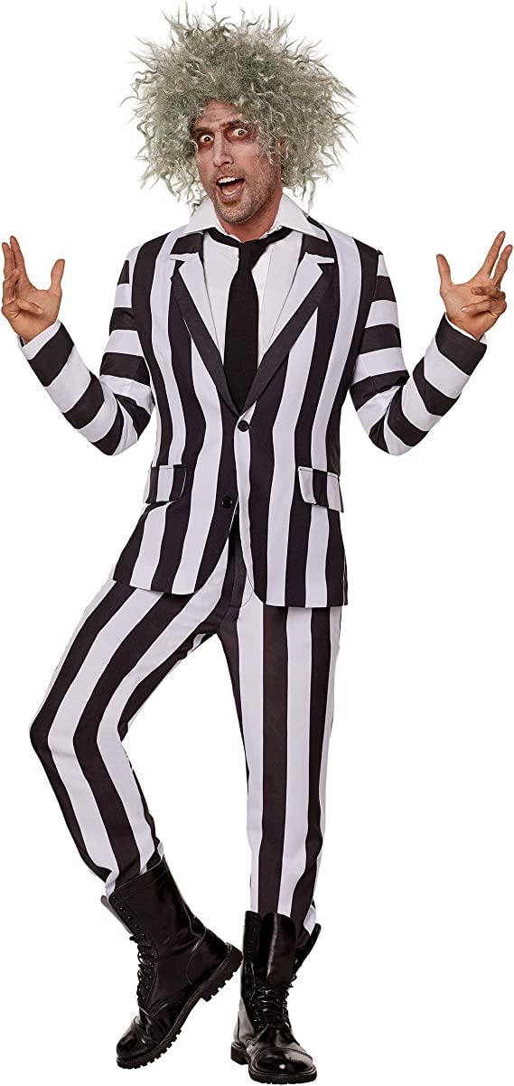 80s Costumes, Outfit Ideas- Girls and Guys Spirit Halloween Adult Beetlejuice Suit $59.99 AT vintagedancer.com
