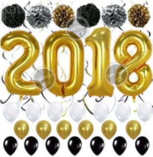 2018 Gold Balloons With Hanging Party Swirls Paper Pom Poms And