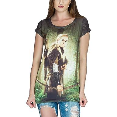 66fd289b79fc54 Elbenwald Herr der Ringe Girlie Shirt Legolas Loose Fit grün schwarz - S:  Amazon.de: Bekleidung