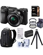 $448 » Sony Alpha a6000 Mirrorless Digital Camera 24.3MP (Black) with 16-50mm Lens (ILCE6000L/B), Travel Bundle with Lowepro Backpack, Battery, Filter Kit, UFO 2 Tripod, 64GB SD Card, and Accessories
