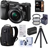 Sony Alpha a6000 Mirrorless Digital Camera 24.3MP (Black) with 16-50mm Lens (ILCE6000L/B), Travel Bundle with Lowepro Backpack, Battery, Filter Kit, UFO 2 Tripod, 64GB SD Card, and Accessories