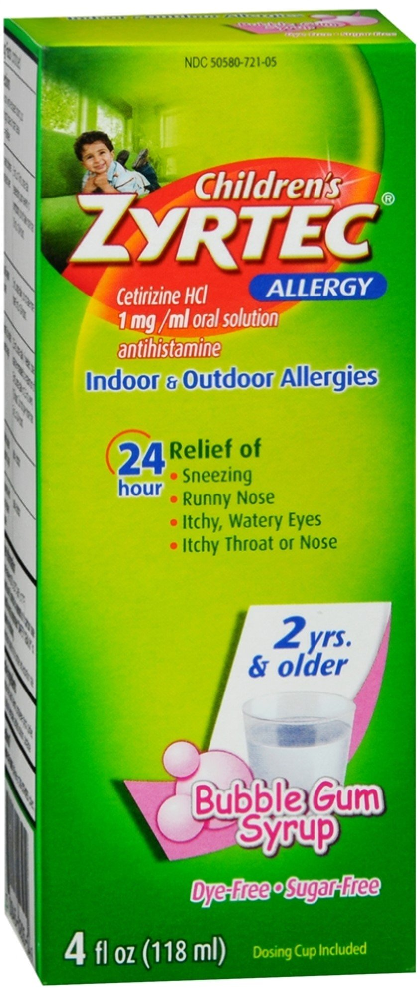 Zyrtec Children's Allergy Bubble Gum Syrup 4 oz (Pack of 8)