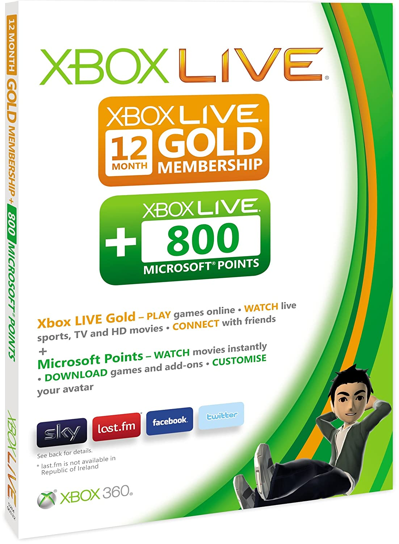 Xbox LIVE 12 month Gold membership plus 800 Microsoft Points: Amazon.co.uk:  PC & Video Games
