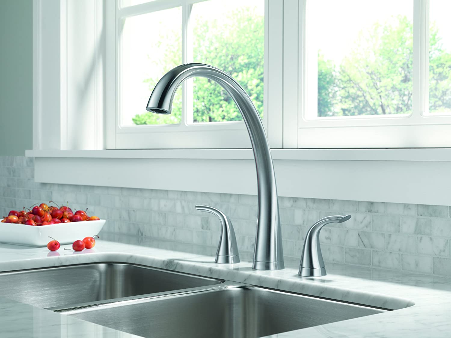 BMA widespread kitchen faucet Delta Faucet DST Pillar Two Handle Widespread Kitchen Faucet with Spray Chrome Touch On Kitchen Sink Faucets Amazon com