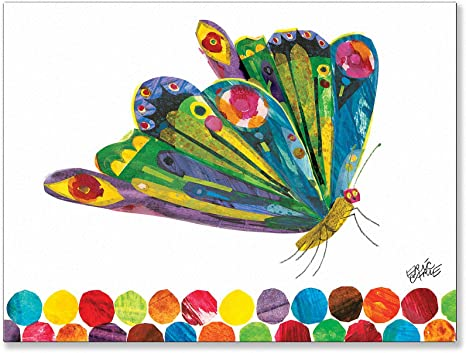 Amazon Com Oopsy Daisy Fine Art For Kids Fluttering Butterfly Stretched Canvas Art By Eric Carle 24 By 18 Inch Childrens Wall Decor Posters Prints