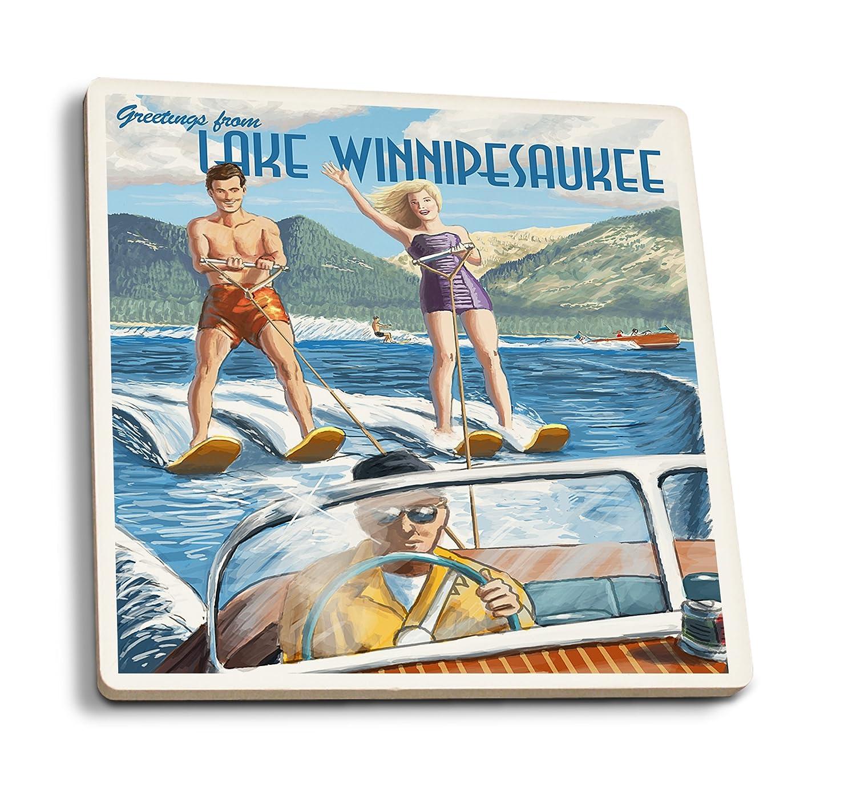 大好き Lake Set Winnipesaukee, Coaster New Hampshire - Wall Water Skiing Scene (16x24 Giclee Gallery Print, Wall Decor Travel Poster) by Lantern Press B01N3M179O 4 Coaster Set 4 Coaster Set, 鳥羽市:d25fbcf0 --- afisc.net