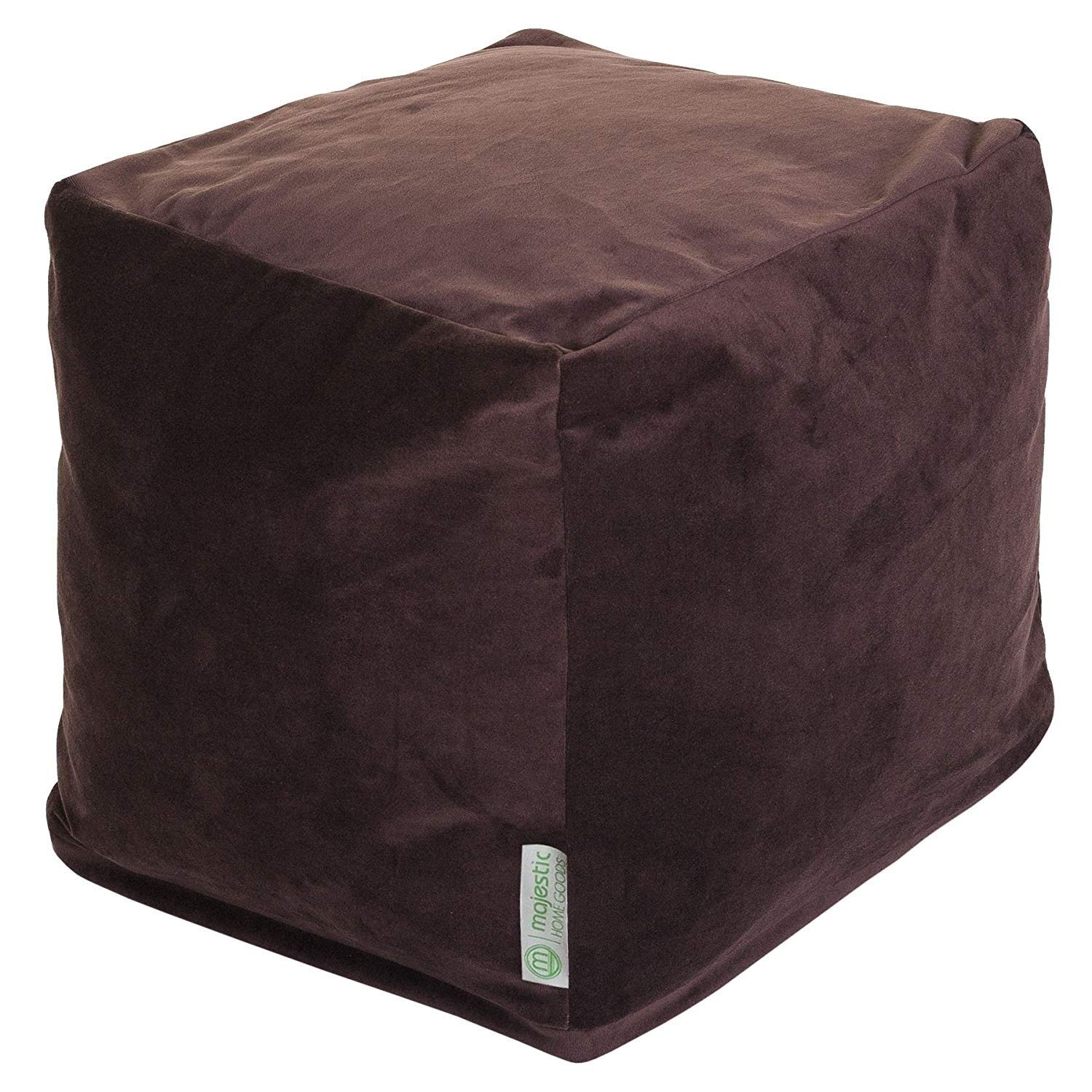 Majestic Home Goods Chocolate Velvet Indoor/Outdoor Bean Bag Ottoman Pouf Cube 17'' L x 17'' W x 17'' H by Majestic Home Goods