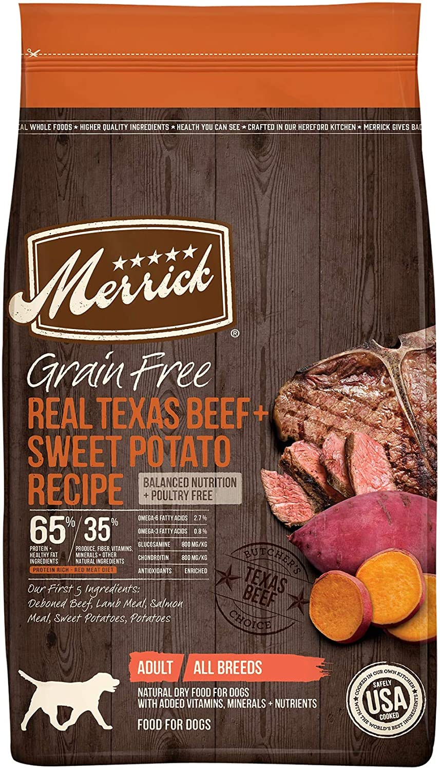 Merrick Grain Free Texas Beef + Sweet Potato Recipe Dry Dog Food, 4 lbs.