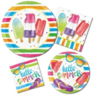 """""""Hello Summer"""" Beach Picnic Pool Party Supply Pack! Bundle Includes Paper Plates & Napkins for 8 Guests"""