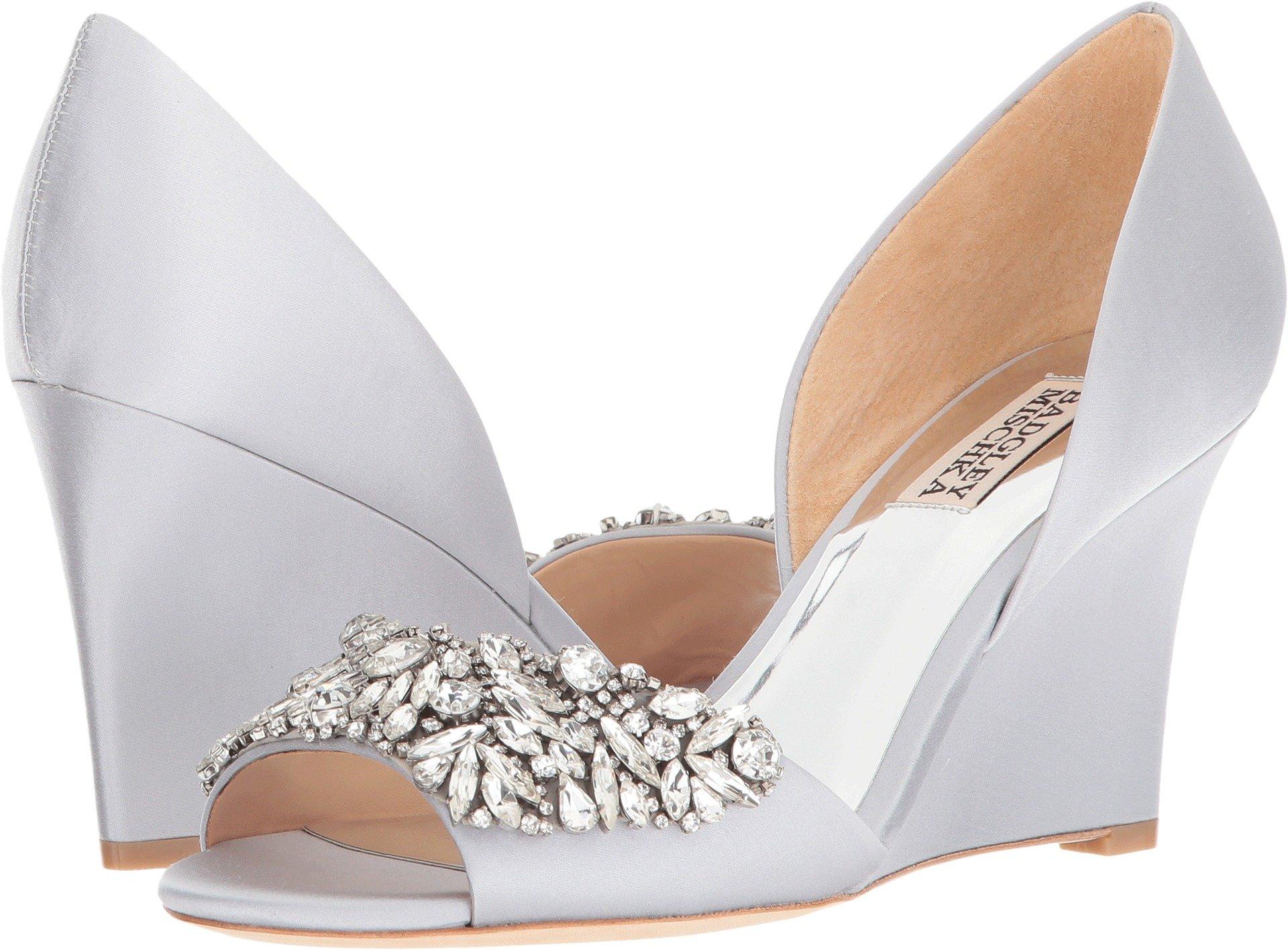 Badgley Mischka Women's Hardy Wedge Sandal, Silver, 7.5 M US
