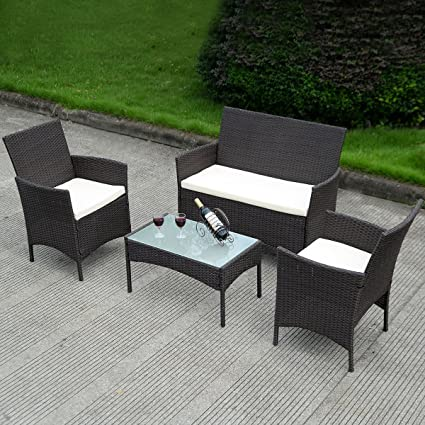 Amazon Com Costway 4 Pc Patio Rattan Wicker Chair Sofa Table Set