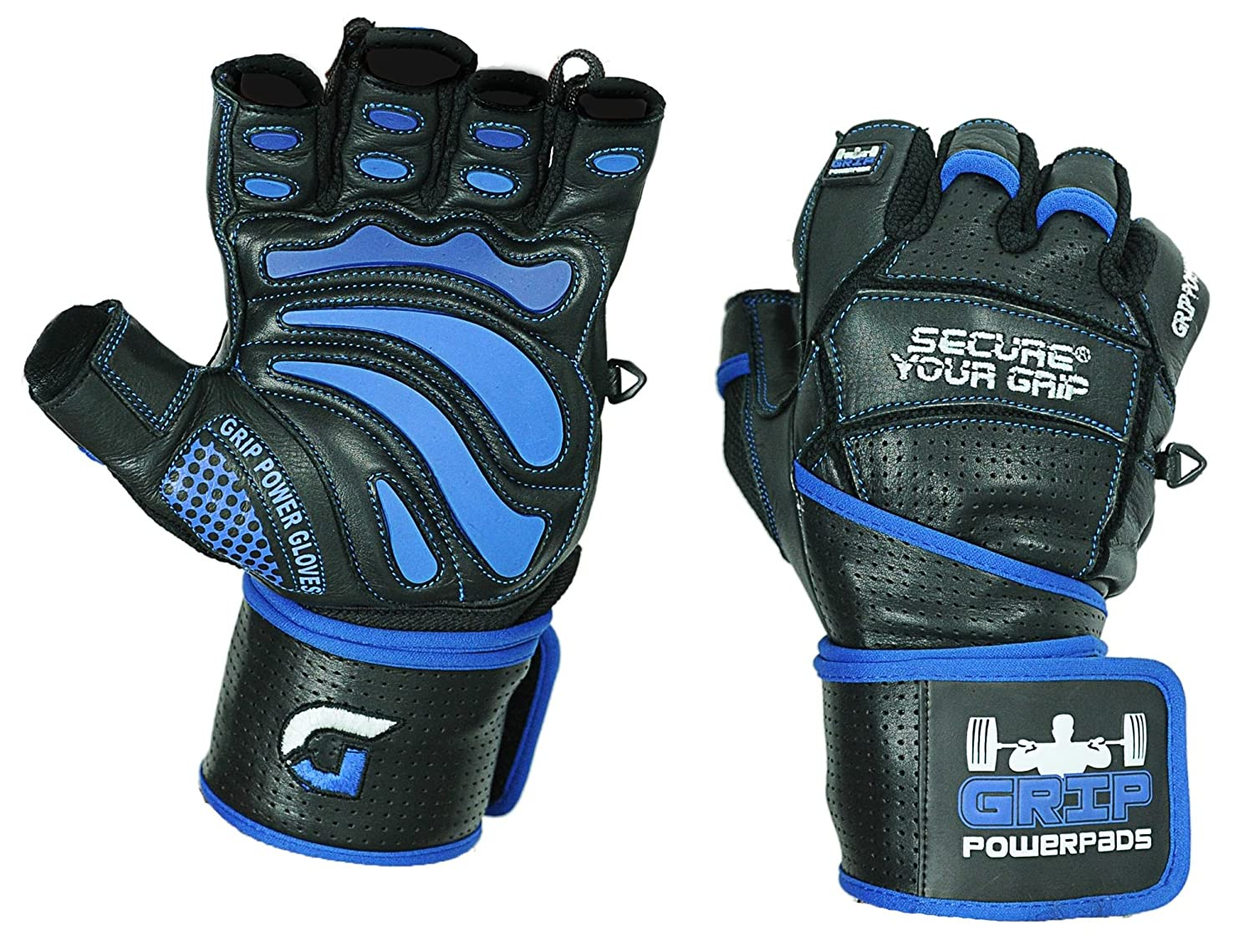 "Grip Power Pads Elite Leather Gym Gloves with Built in 2"" Wide Wrist Wraps"