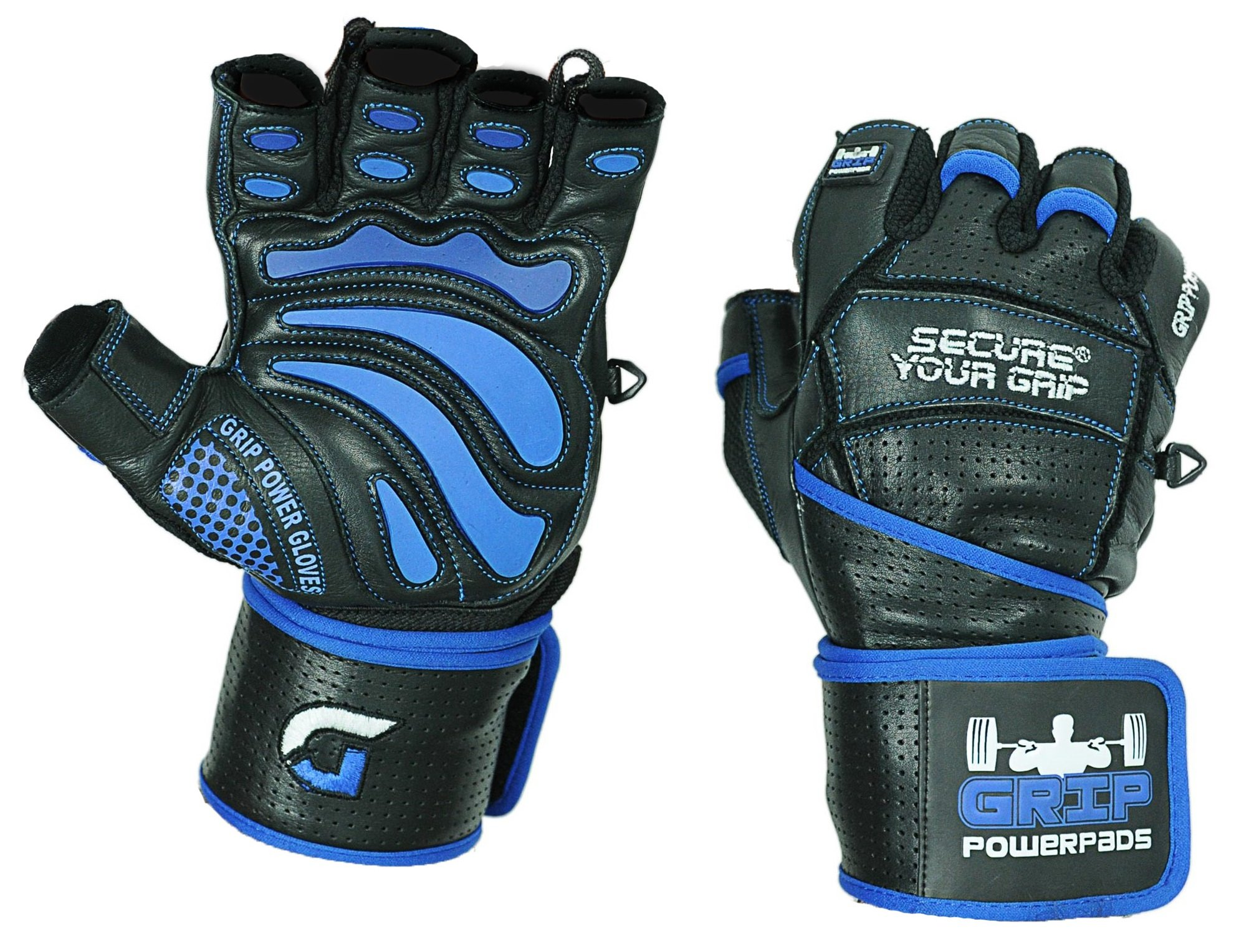 Grip Power Pads Elite Leather Gym Gloves with Built-in 2'' Wide Wrist Wraps - Leather Glove Design for Weight Lifting, Power Lifting, Bodybuilding & Strength Training Workout Exercises (Medium) by Grip Power Pads