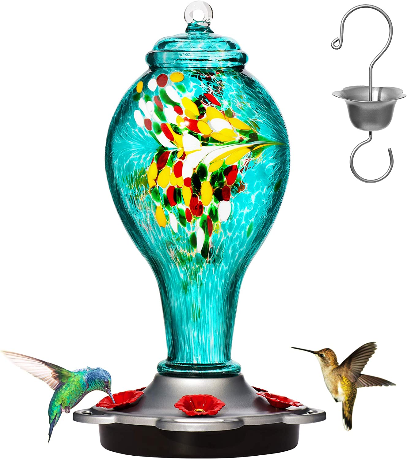 LUJII Hummingbird Feeder for Outdoors, Hand Blown Glass Humming Bird Feeder,Premium Bird feeders Leakproof with 25 Ounces Nectar Capacit and Easy to Clean & Filling,Include Hook&Ant Moat.(Blue)